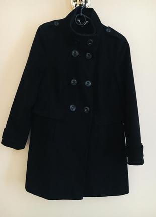 Большой размер чёрное эффектное стильное пальто демисезонное