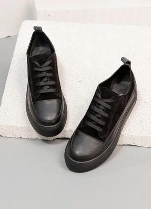 36-40 модные женские кеды кожаные чёрные стильные женские