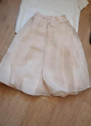 Purity нарядная пышная юбка плиссерованая бежевая нежная необычная дорогая оригинал