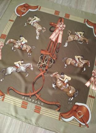Винтажный шелковый платок каре hermes jumping