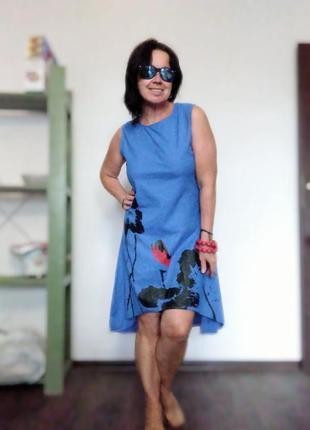 Платье хлопок цвет электрик с купонным принтом