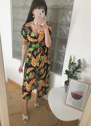 Миди платье сарафан в цветочный принт