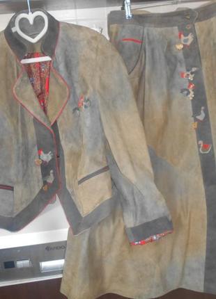 #meindi# vip #винтажный замшевый комплект 100% кожа #куртка и  бка #