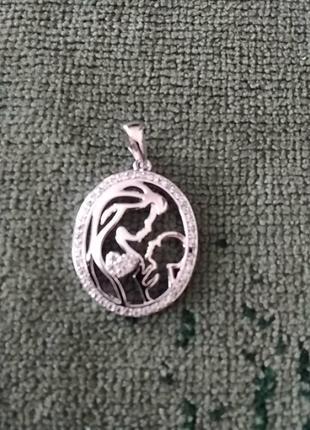 Кулон под серебро вставка россьіпь циркониевьіх камней