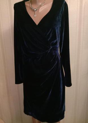 Гламурное брендовое синее платье велюр monsoon