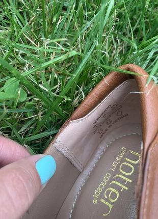 Кожаные туфельки балетки на низком каблуке для золушки5 фото