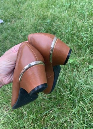 Кожаные туфельки балетки на низком каблуке для золушки3 фото