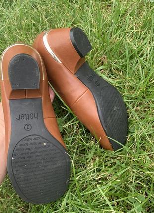 Кожаные туфельки балетки на низком каблуке для золушки4 фото