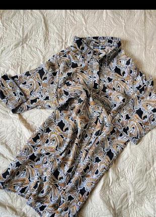 Новое трендовое брендовое шифоновое платье рубашка,туника в орнамент большой размер