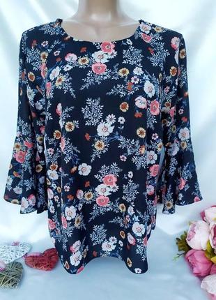 Акция 1+1=3 🎁 красивая блуза в цветочный принт размер 12(42-44)