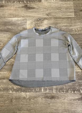 Кофта/блуза zara в клетку с пуговицами на рукавах
