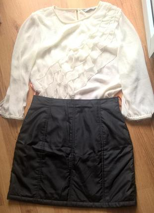 Короткая черная юбка s оiiver + белая блуза h&m (можно в школу) 36 eur