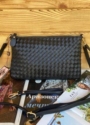 Женская плетённая сумка клатч valensiy на и через плечо жіноча сумочка кросс-боди
