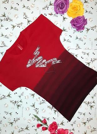 🌿1+1=3 яркая красная качественная женская футболка, размер 42 - 44