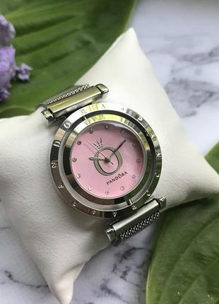 Часы серебристые с розовым циферблатом
