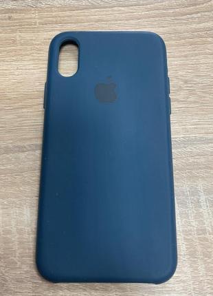 Чехол силиконовый iphone x cине-зеленый