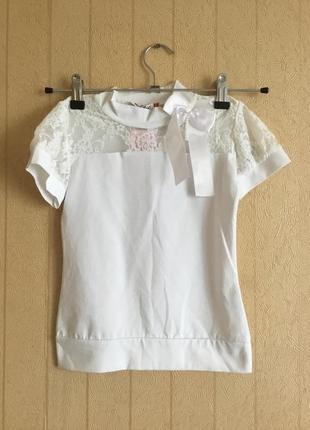 Нарядная трикотажная блуза для девочки на рост 122-128