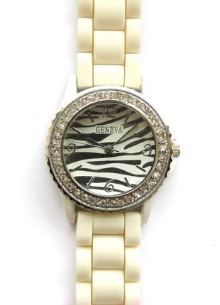 Geneva часы из сша циферблат зебра механизм japan sii силикон