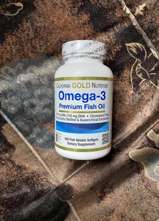 Рыбий жир премиум, omega-3, fish oil, california gold nutrition, 100 капсул