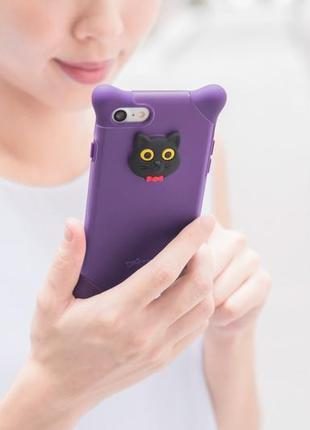 Чехол bubble silicone cat purple для iphone 7  айфон 7