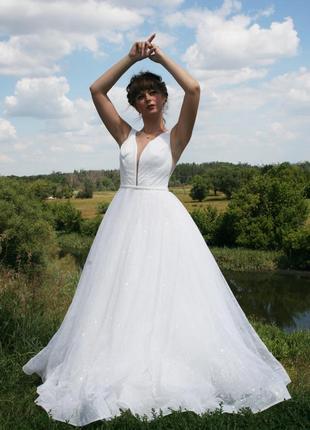 Мерцающее свадебное платье.блестящее свадебное платье