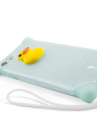 Чехол для iphone 7/8 bubble silicone duck turquoise
