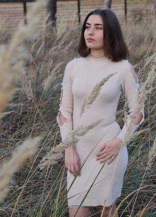 Теплое вязаное плятье по фигуре на осень 🍂🍁