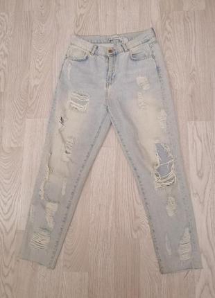 Светлые плотные рваные джинсы момы мом деним с дырками высокой посадкой талией