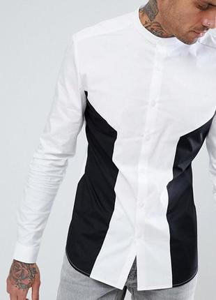 😉1+1=3 стильная белая мужская рубашка сорочка с длинным рукавом asos, размер 44 - 46