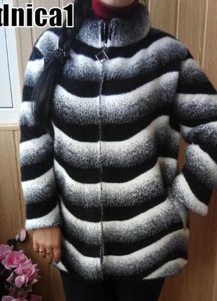 52-56р женский кардиган пальто альпака на молнии супер качество