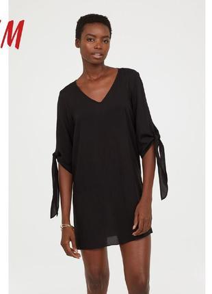 H&m платье мини с завязками на рукавах, l, xl