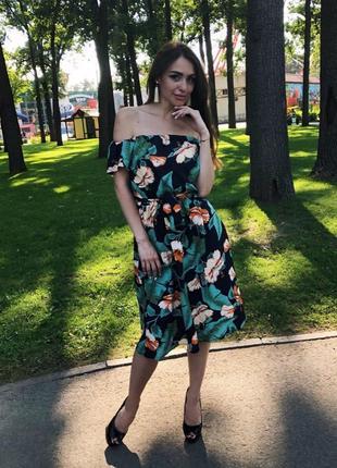 Платье сарафан с пояском в эффектный принт