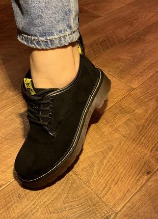 Туфли замшевые оксфорды dr martens