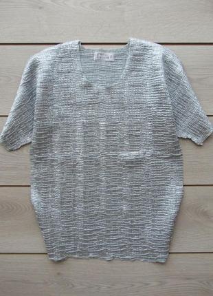 Акция!№59 серебристая футболка блуза под винтаж металлик большой размер