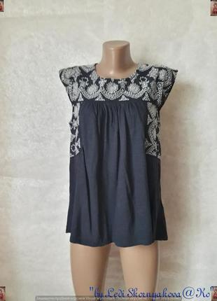 Фирменная fat face блуза со 100% хлопка в синем цвете с кружевными вставками, размер л-ка