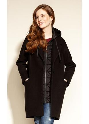 Пальто драповое на подкладке с капюшоном женское из драпа осеннее zaps suwali 004 черное