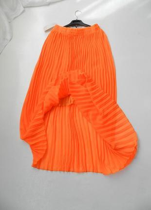 ✅красивая яркая юбка кислотно оранжевая полупрозрачный шифон плисе