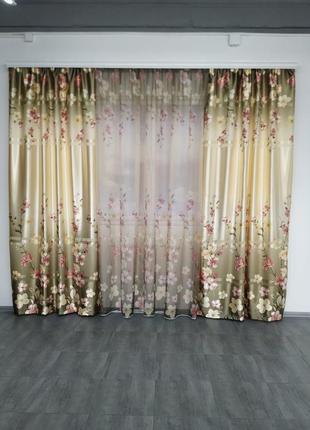 Готовые шторы с тюлем компаньоны сакура