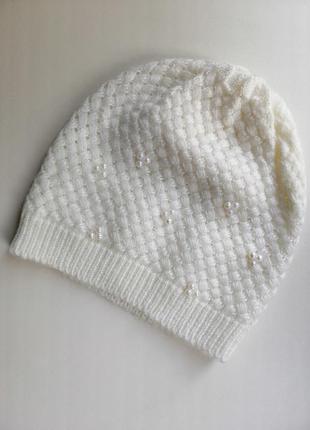 Шерстяная, новая шапка с жемчугом,100% шерсть