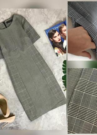 Фирменное стройнящее стрейчевое платье миди в стильную клетку с карманами супер качество