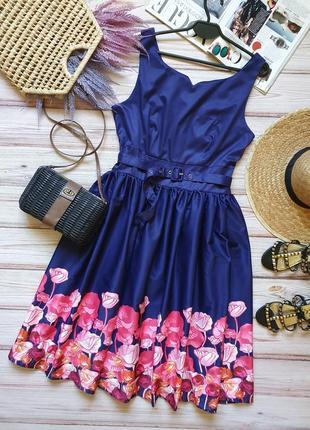 Красивое пишное летнее цветочное платье миди с поясом в ретро стиле