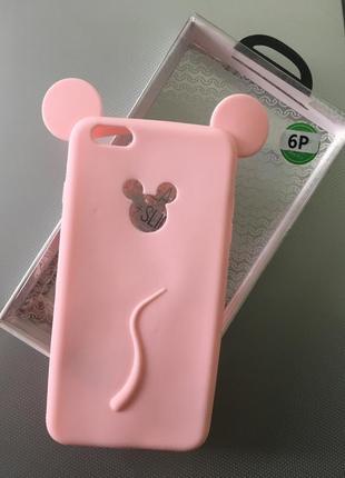 Новый розовый силиконовый чехол микки с ушками на айфон iphone  6 + plus плюс