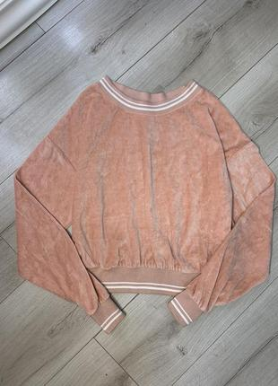 Мягкая бархатная кофта свитер худи bershka