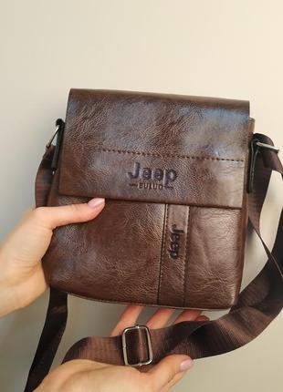 """Компактная недорогая сумка """"jeep"""" коричневая"""