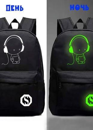 Школьный рюкзак со светящимся принтом. кодовый замок + usb