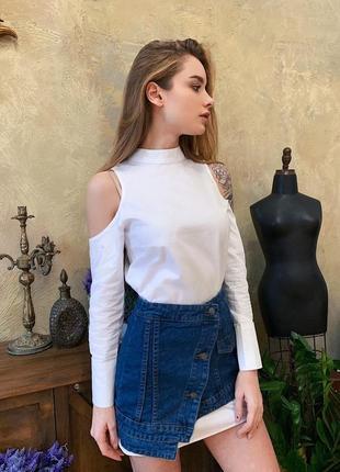 Комплект платье-рубашка и юбка из плотного джинса