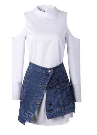 Комплект платье-рубашка и юбка из плотного джинса2 фото