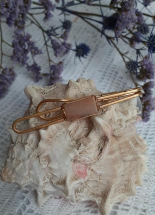 Зажим булавка для галстука русские самоцветы винтаж латунь натуральный камень агат ссср
