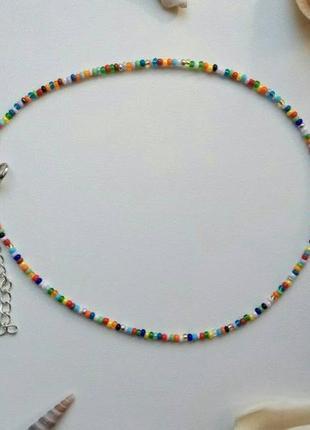 Чокер из бисера цветной, кольоровий, разноцветный, стильный, лето, тренд 2020, ожерелье!