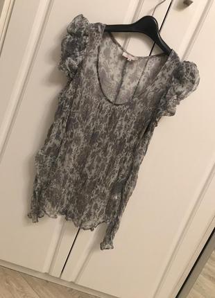 Натуральный шёлк нежнейшая невесомая блуза с рукавами буфами